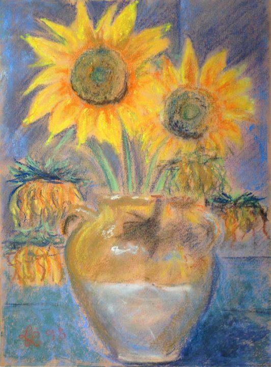 Sunflowers in a clay pot - imaginart