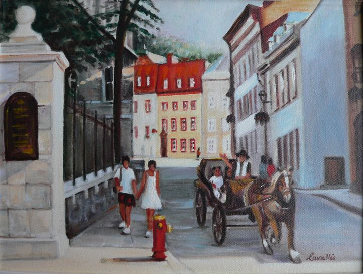 Old Quebec city oil painting - imaginart