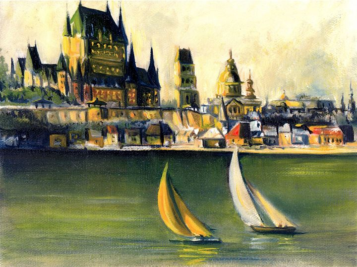 Sailing in front of Quebec City - imaginart