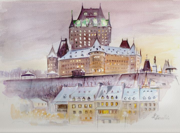 Château frontenac watercolor - imaginart