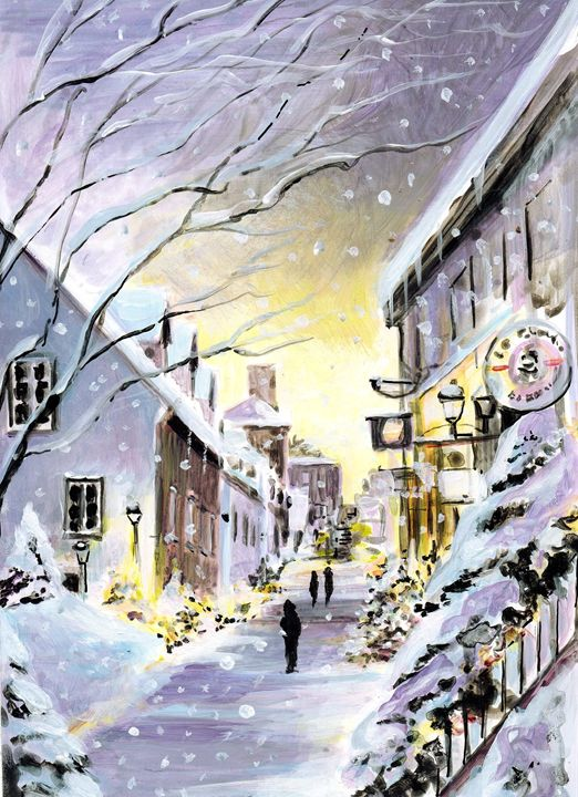 Winter in Quebec street - imaginart
