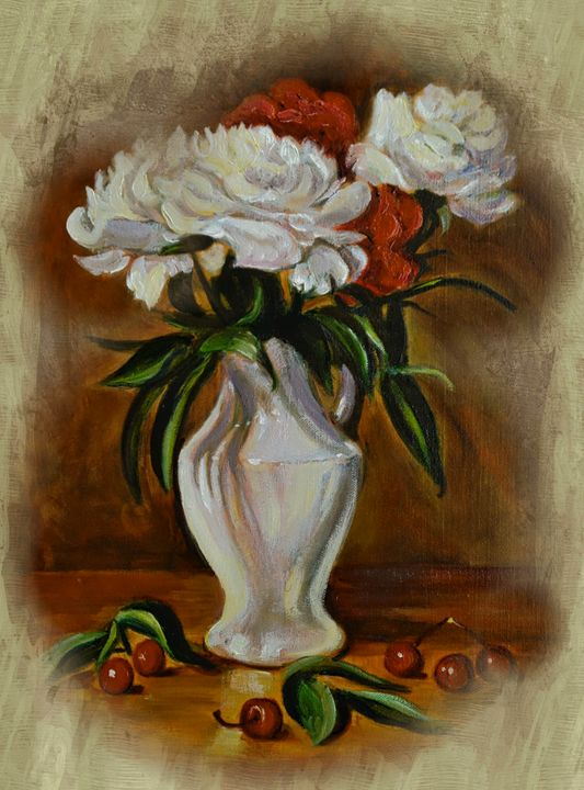 Peonies in porcelain vase - imaginart