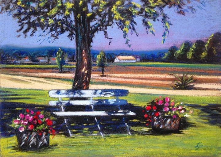 Bench under the chestnut tree - imaginart
