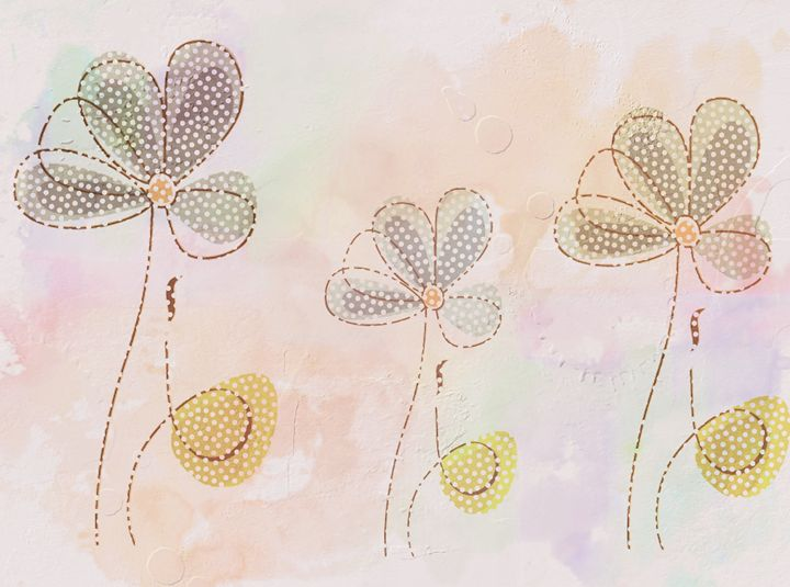 three Delicate flowers design - imaginart