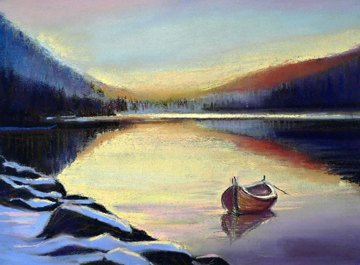 Canoe on the lake in spring time - imaginart