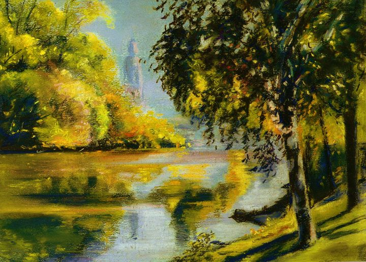 Sunny trees on the river - imaginart