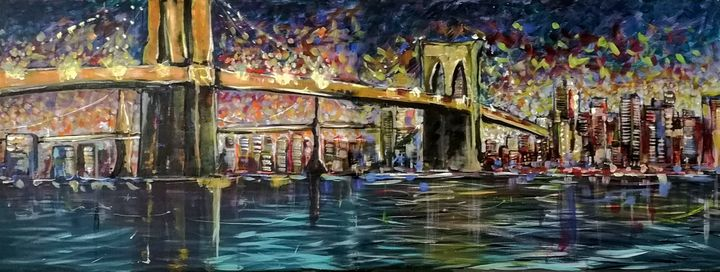 New-York Brooklyn bridge at night - imaginart