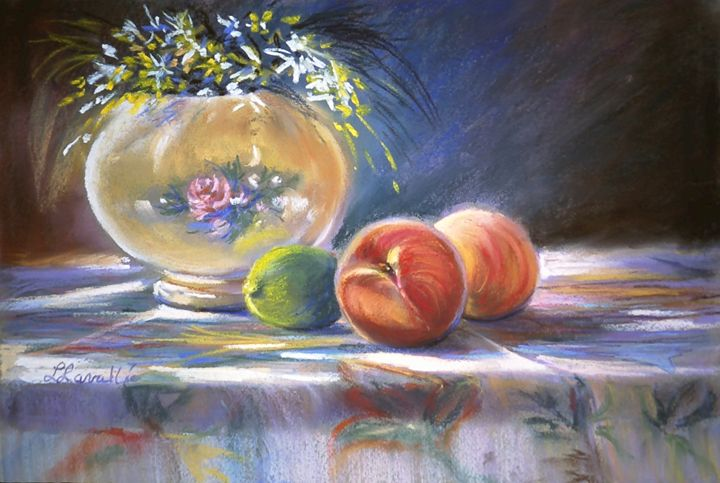 Still life peaches and lime - imaginart