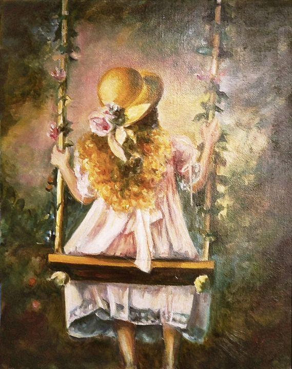 Little girl on the swing - imaginart