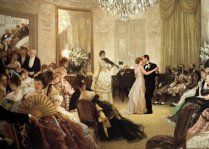 Romantic evening in Tissot Painting - imaginart
