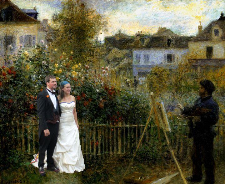 Newlyweds couple posing for Monet - imaginart