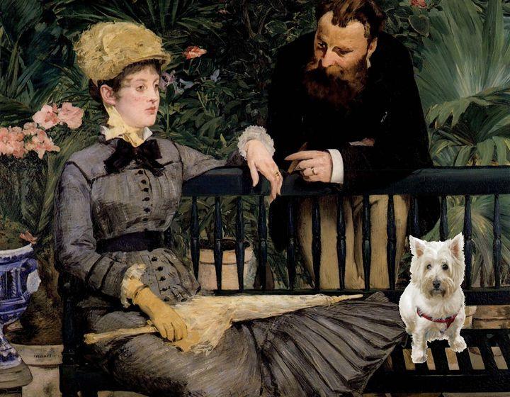 Cute Westie in Manet's artwork - imaginart