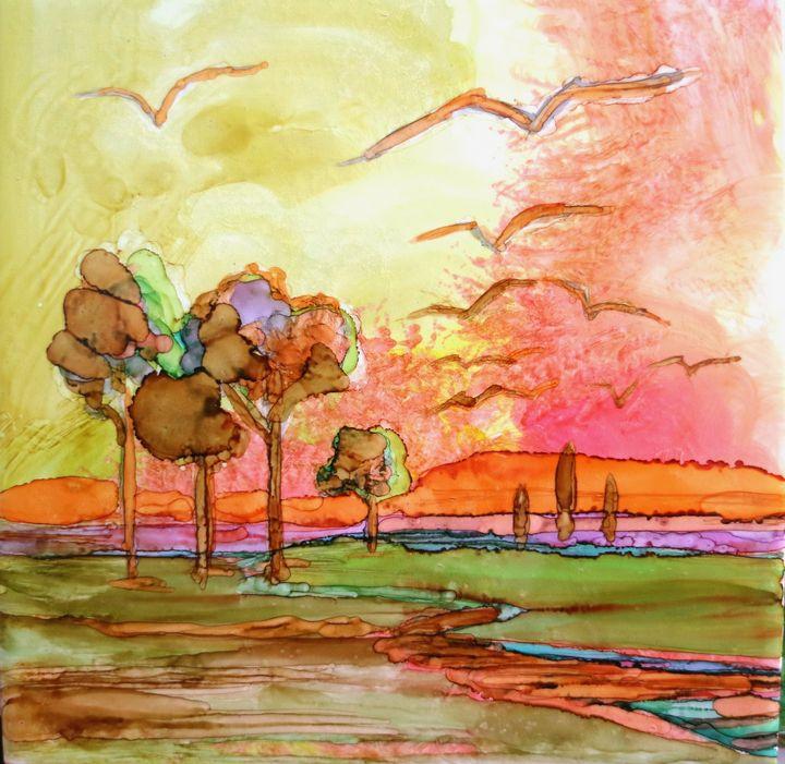 Landscape in alcohol ink - imaginart
