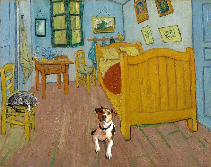 Pets in Vincent Van Gogh's room - imaginart