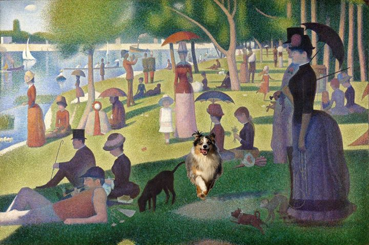 Dog running in Seurat's Grande Jatte - imaginart