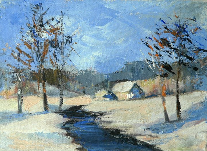 Winter stream landscape - imaginart