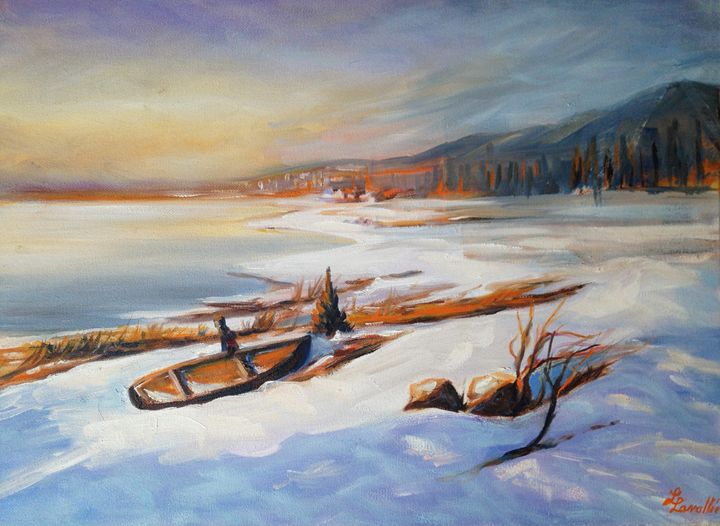 Canoe in the snow on the river - imaginart