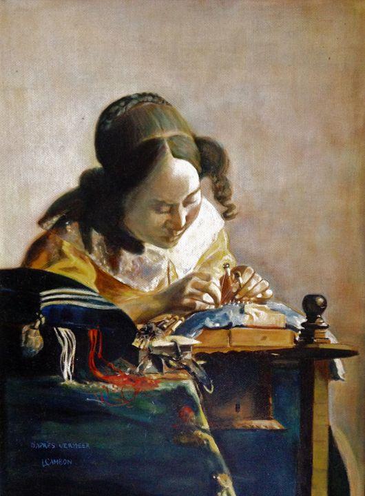 Original oil after Vermeer - imaginart