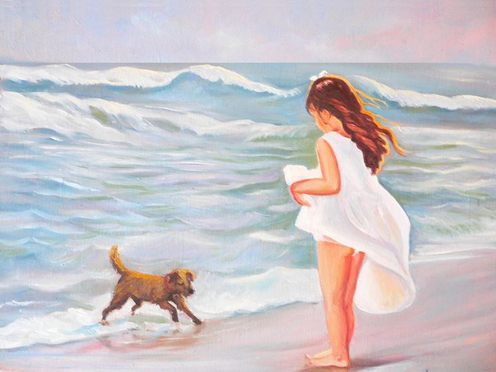 Girl and dog at the beach - imaginart