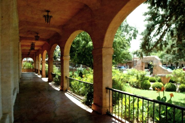 Southwestern convent walkway - Unseen Gallery Prints