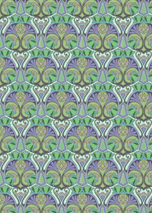 Art Nouveau floral with lotuses - Unseen Gallery Prints