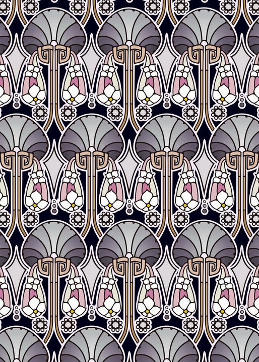 Art Nouveau abstract, pearl tones - Unseen Gallery Prints