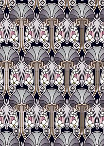 Art Nouveau abstract, pearl tones