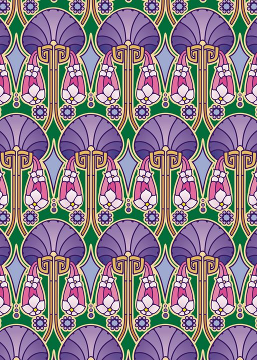 art nouveau abstract, purple - Unseen Gallery Prints
