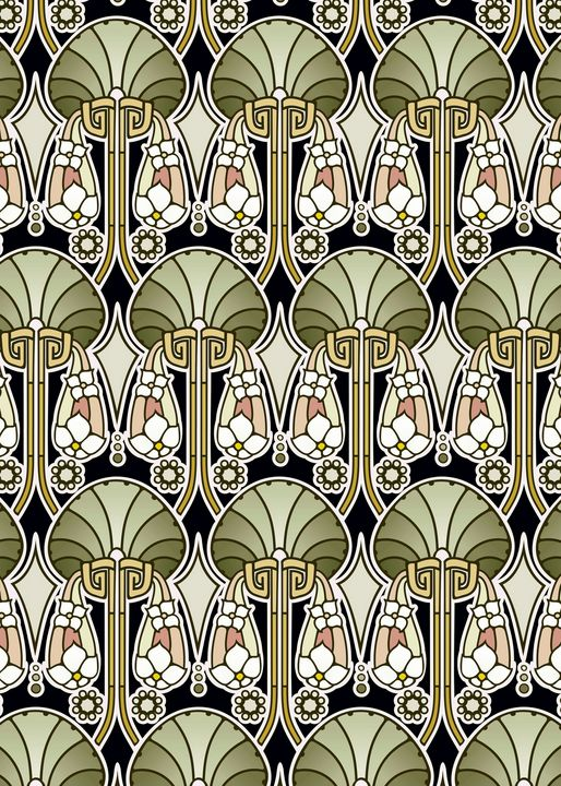 Art Nouveau abstract, olive - Unseen Gallery Prints