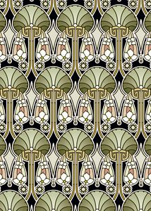 Art Nouveau abstract, olive