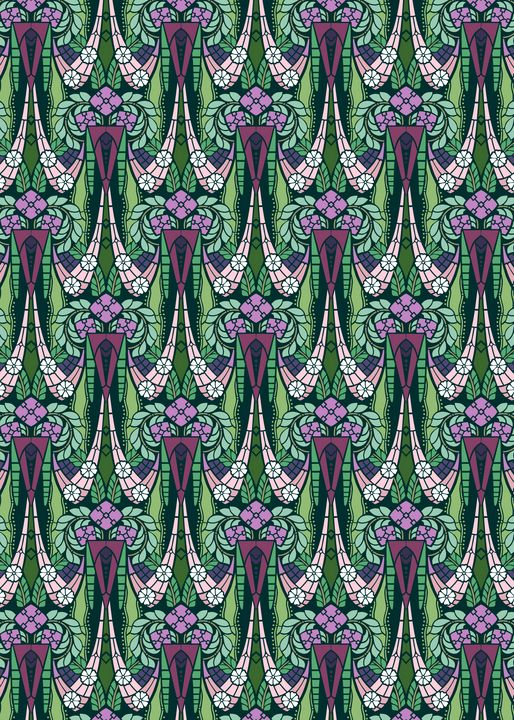Decorative pattern of floral swags - Unseen Gallery Prints