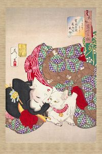 Lady cuddling her cat