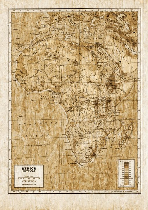 Vintage physical map of Africa - Unseen Gallery Prints