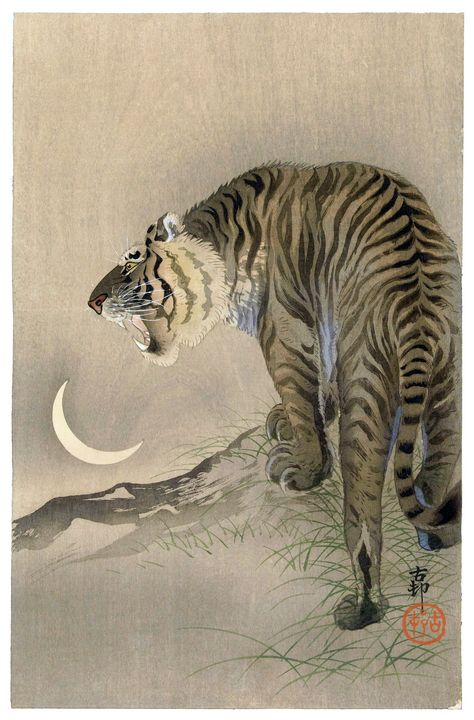 Roaring Tiger and New Moon - Unseen Gallery Prints