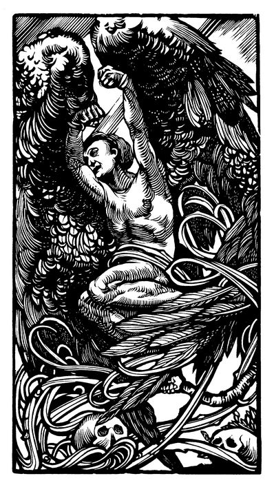 Winged person with skulls - Unseen Gallery Prints
