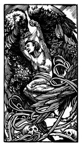 Winged person with skulls