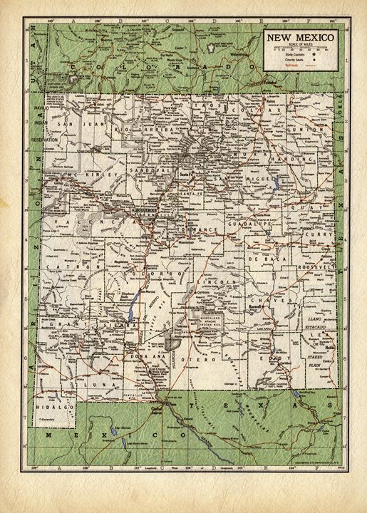 Vintage map of New Mexico - Unseen Gallery Prints