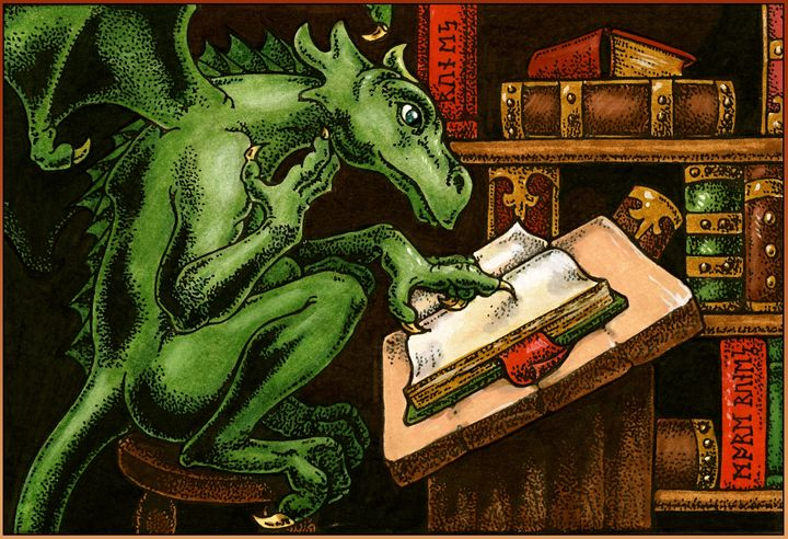 Librarian Dragon - Unseen Gallery Prints
