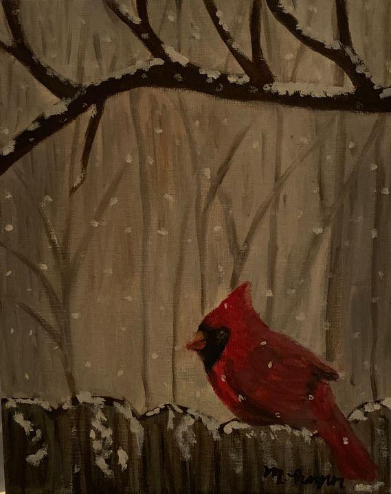 Cardinal on Fence Winter Scene - Madisan's Art