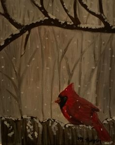 Cardinal on Fence Winter Scene
