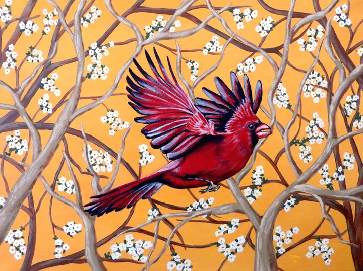 Cardinal in Flight - Teresa Wing