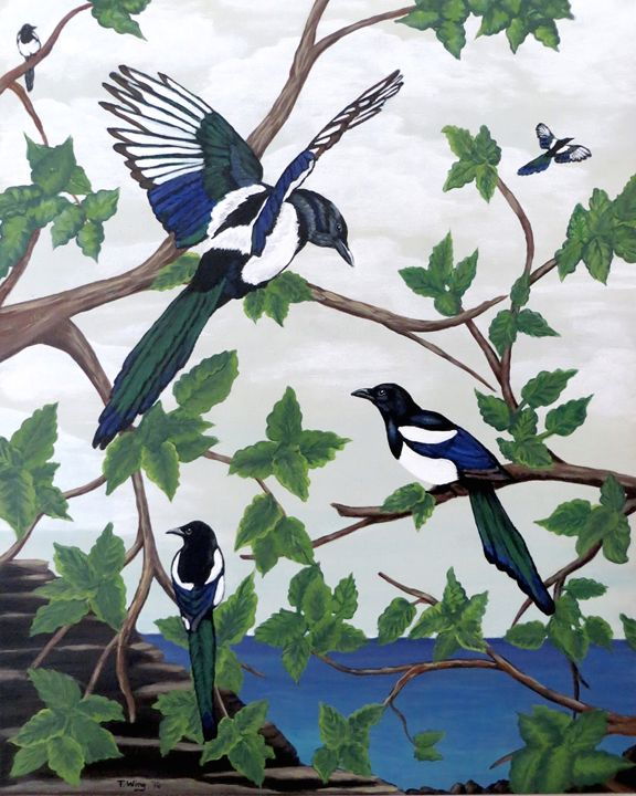 Black Billed Magpies - Teresa Wing