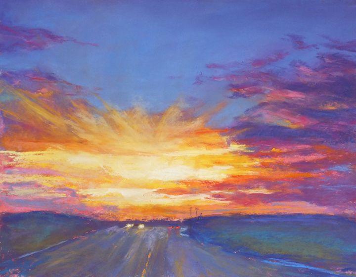 Golden Drive - Linee Pastels Fine Art