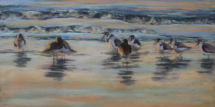 Sandpipers at Dusk - Linee Pastels Fine Art