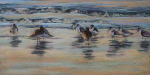 Sandpipers at Dusk - Linee Pastels Fine Art