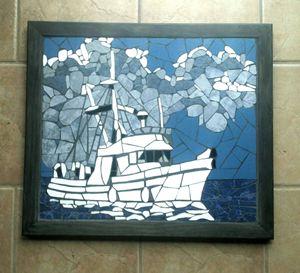 Stormy Fish Boat Mosaic