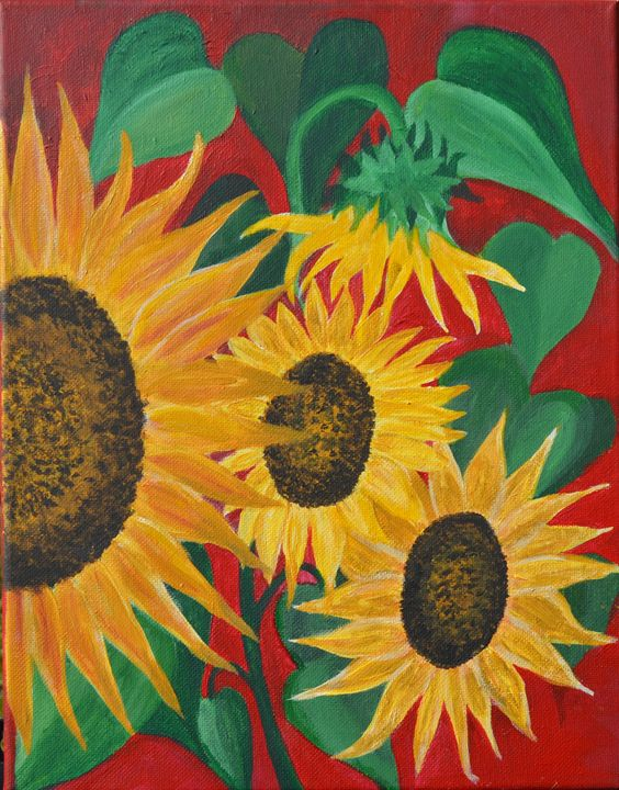Sunflowers on Red - Inside My Soul - Kathy Fontenot