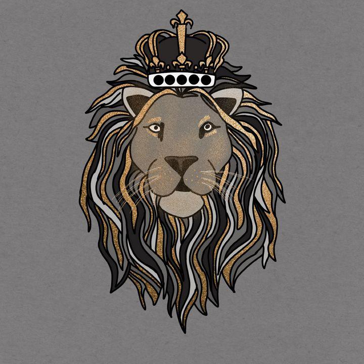 Grey&Gold Shimmer Lion Illustration - The prints loft