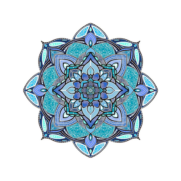 Blue Mandala Illustration - The prints loft