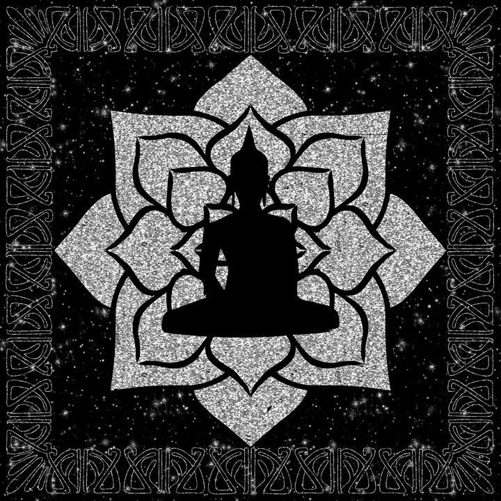 Silver Buddha Illustration - The prints loft